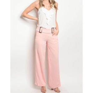 PINK PALAZZO FITTED PANTS